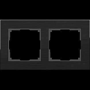 Рамка на 2 поста (черный алюминий) WL11-Frame-02