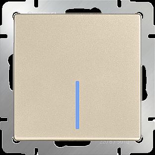 Выключатель одноклавишный проходной с подсветкой (шампань) WL11-SW-1G-2W-LED