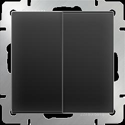 Выключатель двухклавишный проходной (черный матовый) WL08-SW-2G-2W