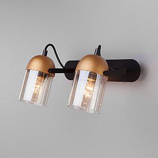 Настенный светодиодный светильник с поворотными плафонами 20122/2 черный/золото