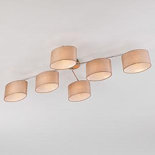 Потолочная люстра с бежевыми абажурами 60083/6 хром