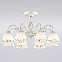 Классическая люстра со стеклянными плафонами 60107/8 белый с золотом